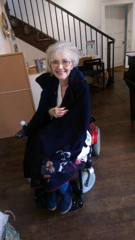 Eileen Harrisson Self wearing nurse's cape Mid Wales Arts Centre Sept 2017
